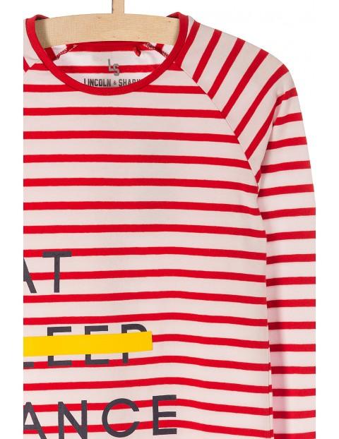 Bluzka dziewczęca w czerwone paski- zabawne napisy