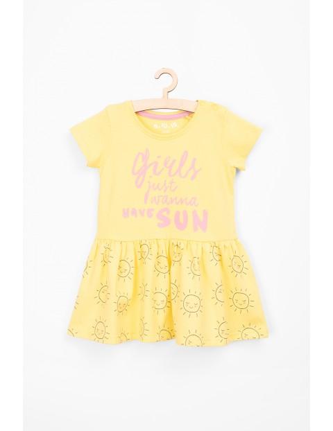 Sukienka dziewczęca bawełniana z krótkim rękawem- żółta