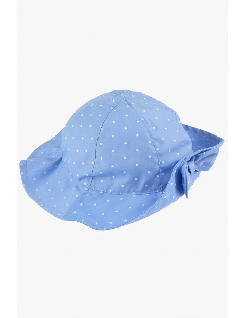 Kapelusz dziewczęcy niebieski w kropki- 100% bawełna