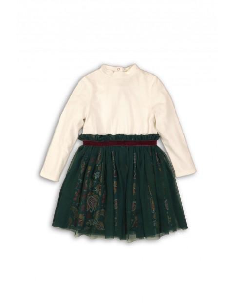 Sukienka z półgolfem i tiulową falbanką