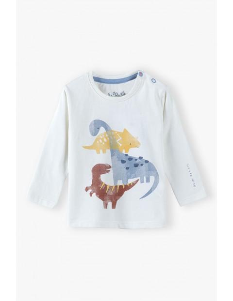 Bluzka niemowlęca z dinozaurami - ecru