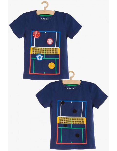 T-shirt chłopięcy granatowy z odklejanymi piłkami