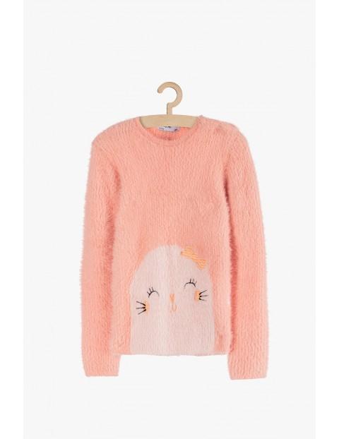 Różowy sweter dla dziewczynki foka
