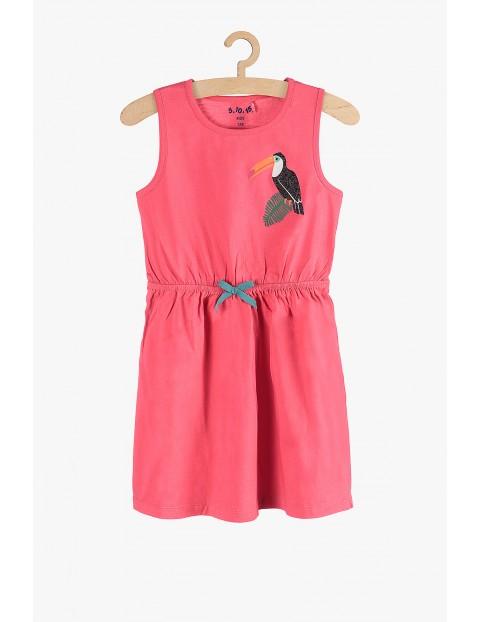 Sukienka dziewczęca różowa z tukanem