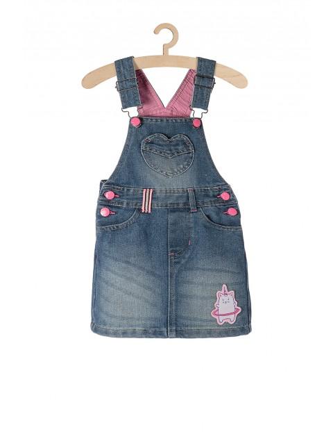 Sukienka jeansowa ogrodniczka dziewczęca- jeansowa z jednorożcem