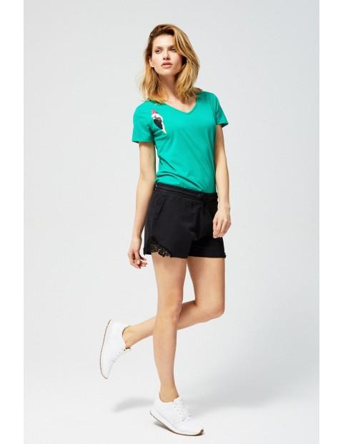 T-shirt damski zielony z papugą