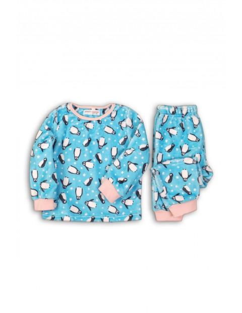 Piżama dziewczęca w pingwiny - niebieska rozm 92/98