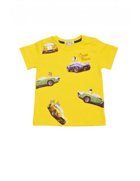 T-shirt chłopięcy żólty w samochody