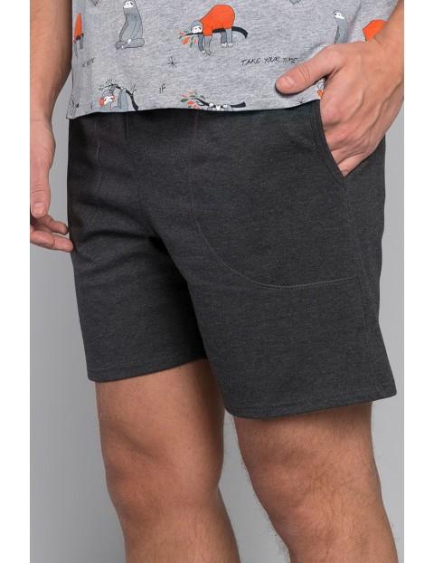 Bawełniana piżama męska w leniwce - szara