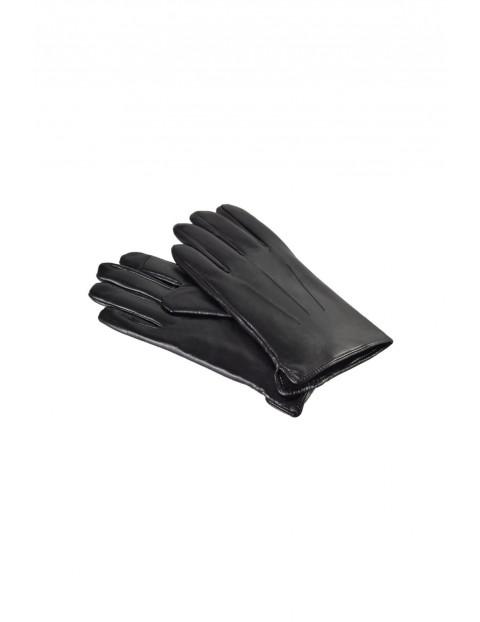 Rękawiczki męskie skórzane antybakteryjne - czarne roz. L