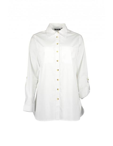 Dzianinowa koszula damska  - biała