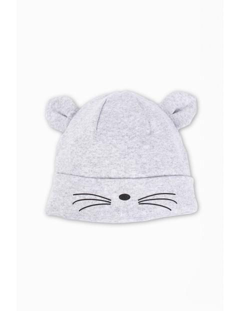 Dzianinowa czapka dla dziewczynki- szara z uszami