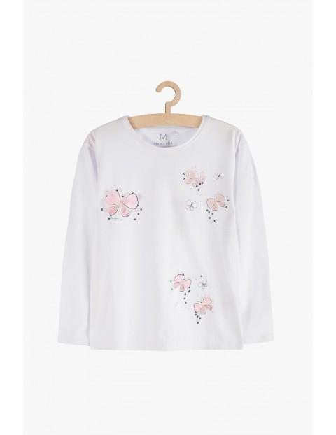 Bluzka dziewczęca z długim rękawem- biała w motyle