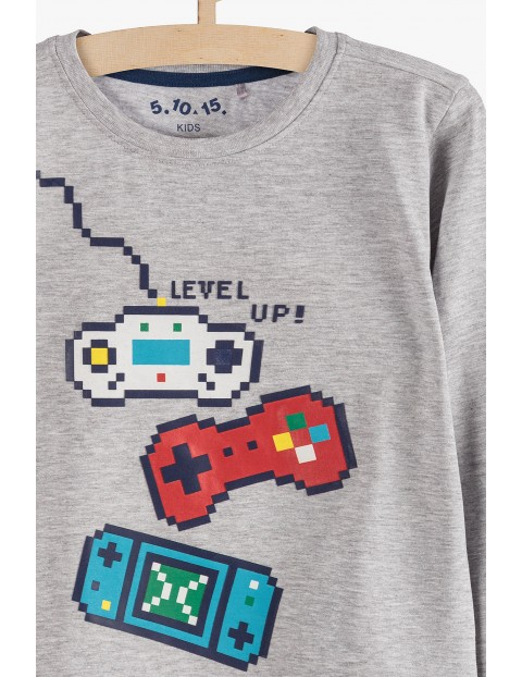 Bluzka chłopięca szara z motywem gier