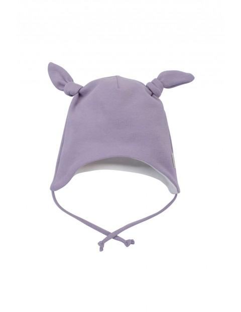 Dwuwarstwowa czapka niemowlęca wiązana pod szyją- fioletowa