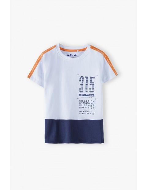 Bawełniany t-shirt chłopięcy z nadrukiem- 100% bawełna