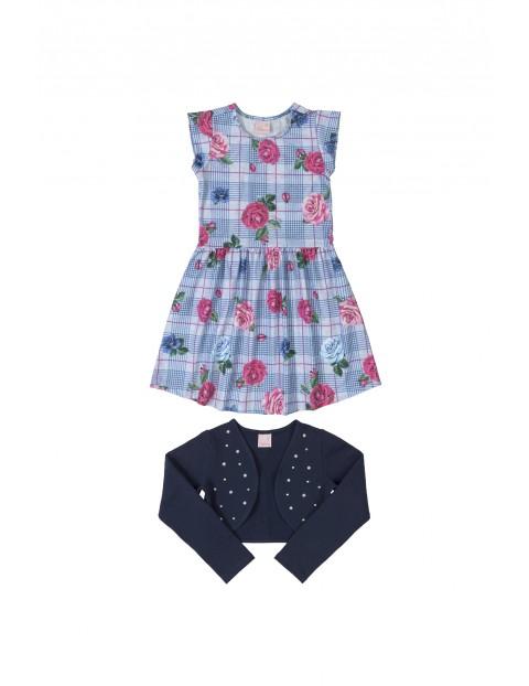 Komplet dziewczęcy- sukienka w kwiaty i bolerko