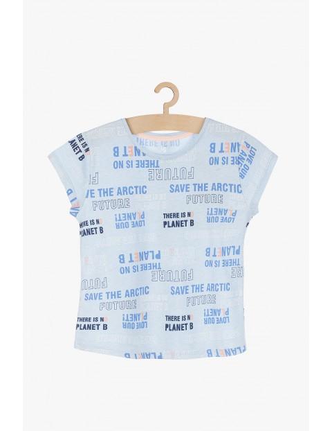 T-shirt dla dziewczynki- niebieski z napisami