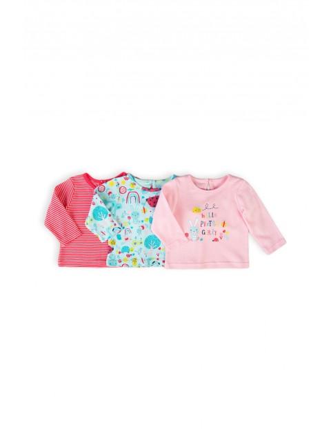 Kolorowe bawełniane bluzki niemowlęce- 3-pak