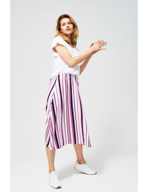Spódnica damska midi w prążki różowa