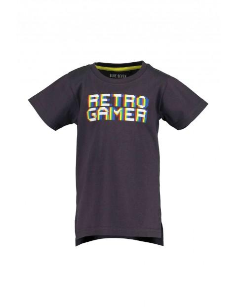 T-Shirt chłopięcy czarny z napisem -Retro gamer
