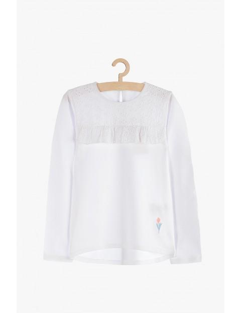 Bluzka dziewczęca biała z ozdobną haftowaną górą