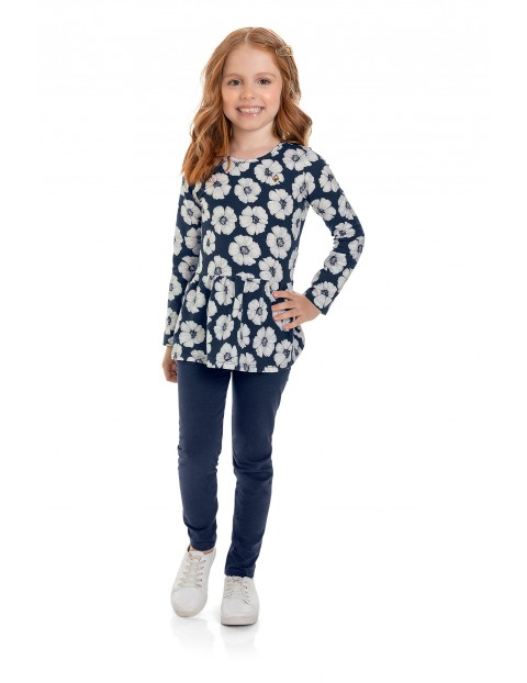 Komplet dziewczęcy - bluzka w kwiaty i spodnie dresowe