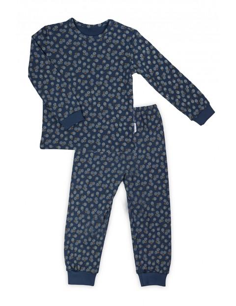 Bawełniana piżama z kwiecistym wzorkiem - granatowy