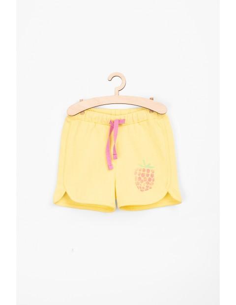 Szorty dziewczęce bawełniane- żółte z malinką