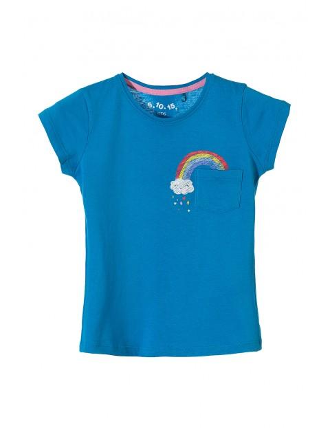 T-shirt dziewczęcy niebieski z kieszonką