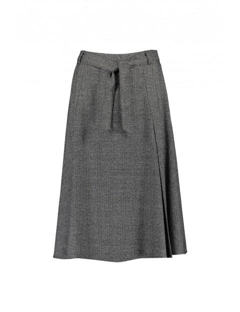 Spódnica damska  w kratkę rozkloszowana - szara w kratę