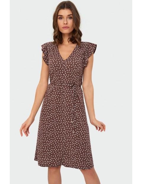 Zwiewna brązowa sukienka w groszki