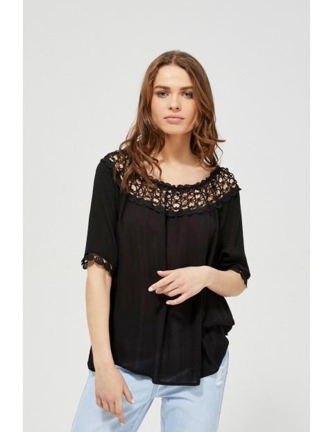 Koszula damska typu hiszpanka z haftem czarna