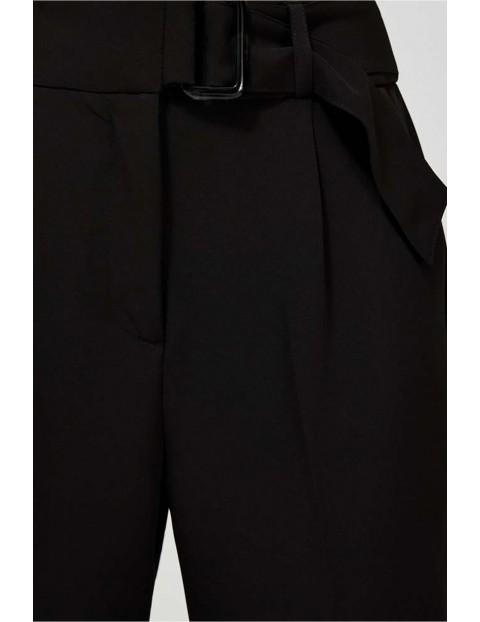 Spodnie damskie czarne w kant z wysokim stanem