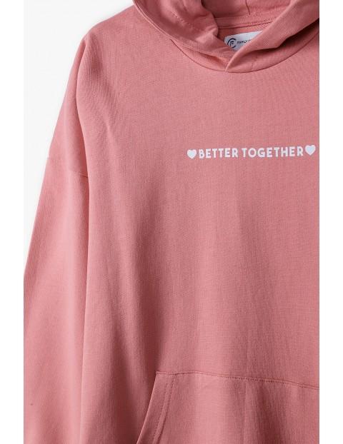 Dresowa bluza dla mamy i córki- różowa z kapturem- Razem najlepiej