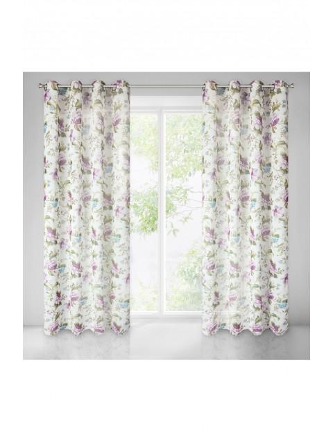Wielobarwna zasłona z miękkiej tkaniny w kwiaty - 140x250cm