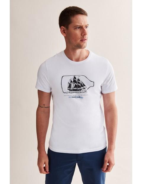 Bawełniany t-shirt męski z morskim motywem - biały