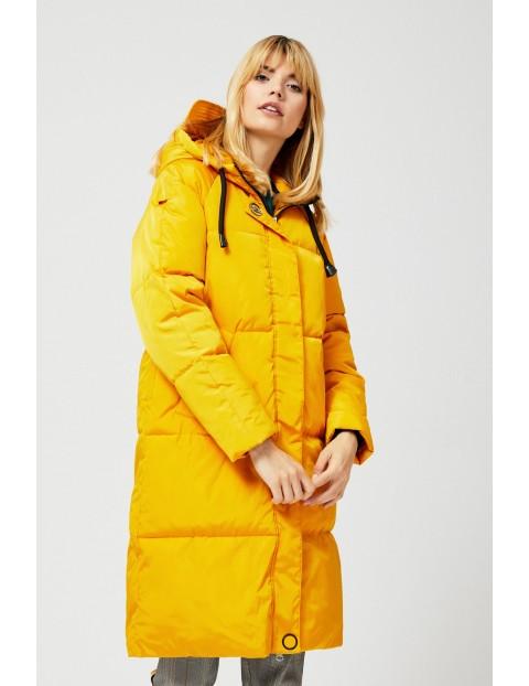 Kurtka damska z kapturem- żółta
