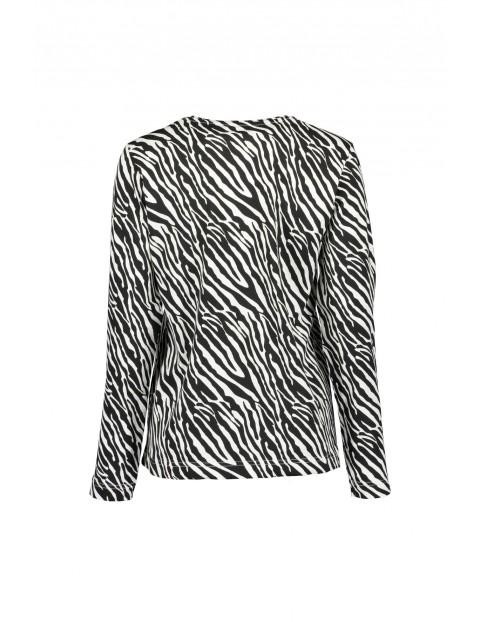 Dzianinowa koszulka damska- czarno-biała