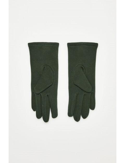 Rękawiczki z obszytymi guzikami - zielone