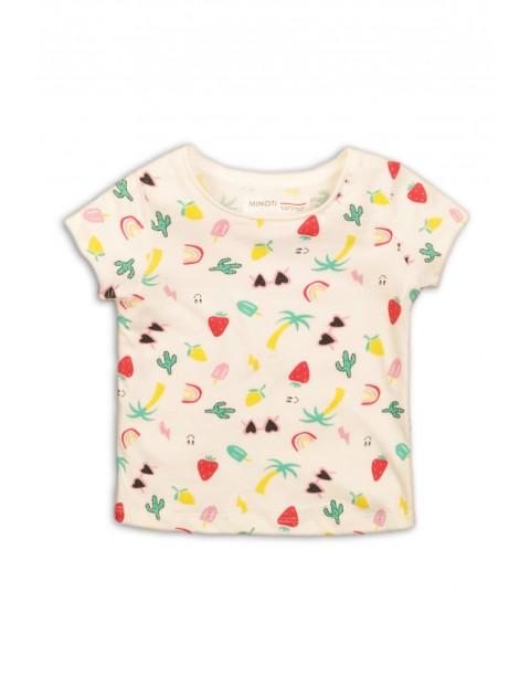 T-Shirt niemowlęcy ecru z wakacyjnym wzorem