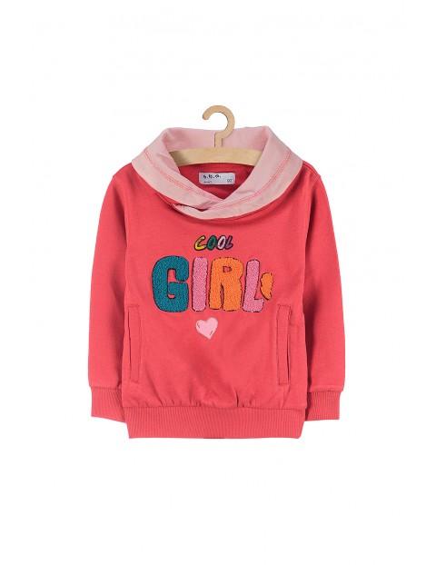 Bluza dziewczęca nierozpinana różowa na napisem Girl