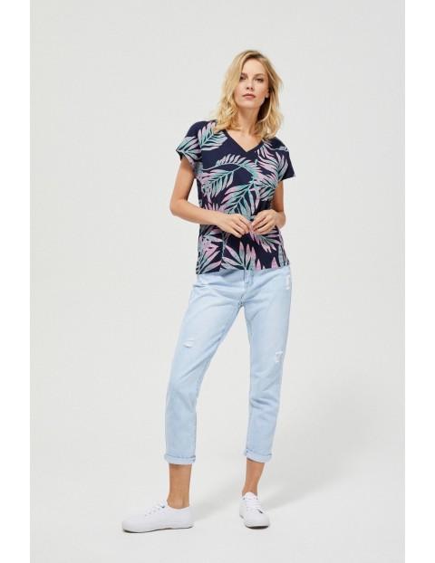Bawełniany granatowy T-shirt damski w liście