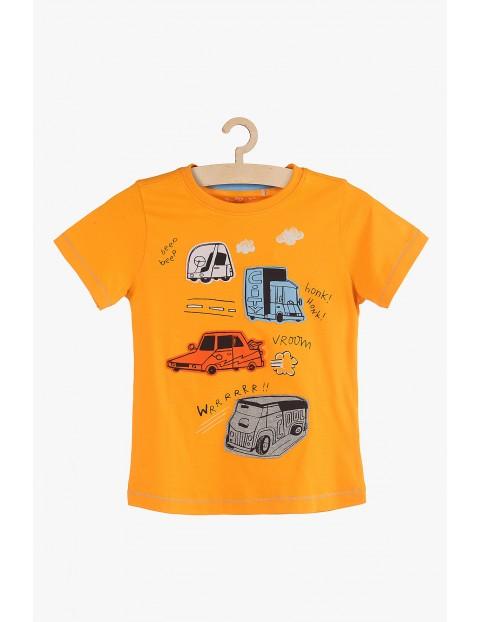T-shirt chłopięcy pomarańczowy z autami