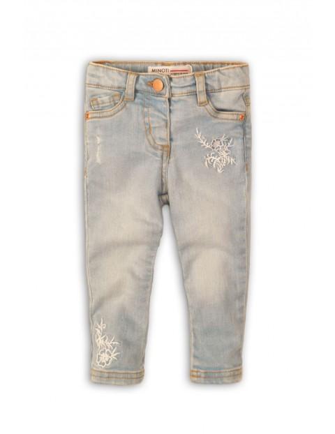 Jeansowe spodnie dziewczęce z ozdobnym haftem