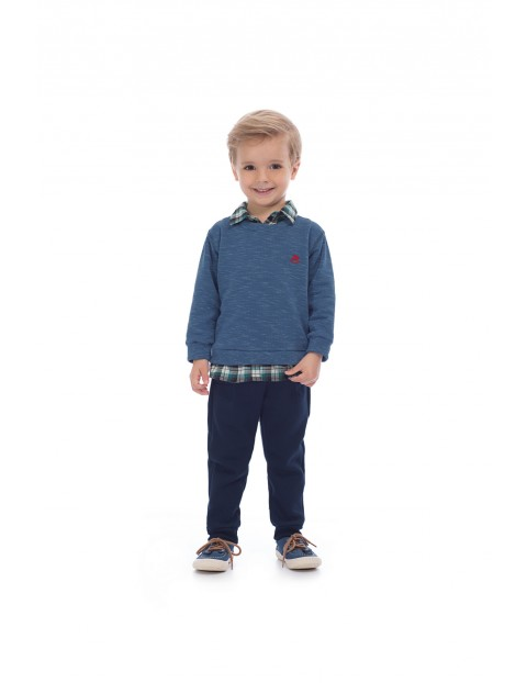 Komplet chłopięcy sweter-koszula w kratkę i spodnie