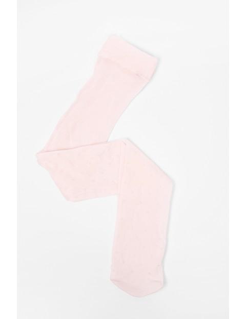 Rajstopy dziewczęce różowe cienkie w groszki