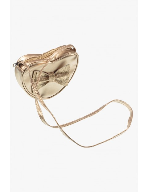 Złota torebka na ramię w kształcie serduszka