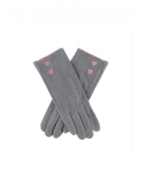 Rękawiczki damskie - szare z różowymi serduszkami