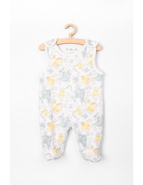 Śpiochy niemowlęce białe z morskim motywem- 100% bawełna